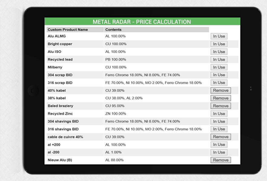 real-time berekening van uw eigen prijzen op basis van de LME